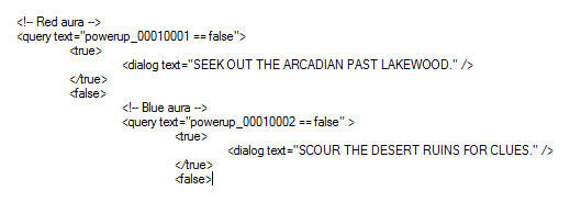 A snippet of a dialog tree in Super Win that queries against all known powerups.